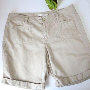 Ann Taylor Loft Rolled Cuff Tan Bermuda Shorts 8